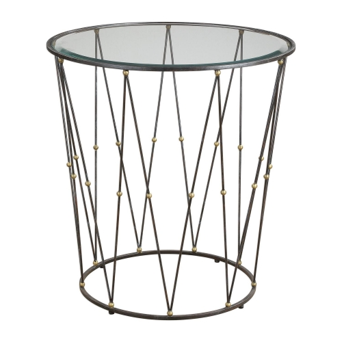 Hewett Round Accent Table - Caged