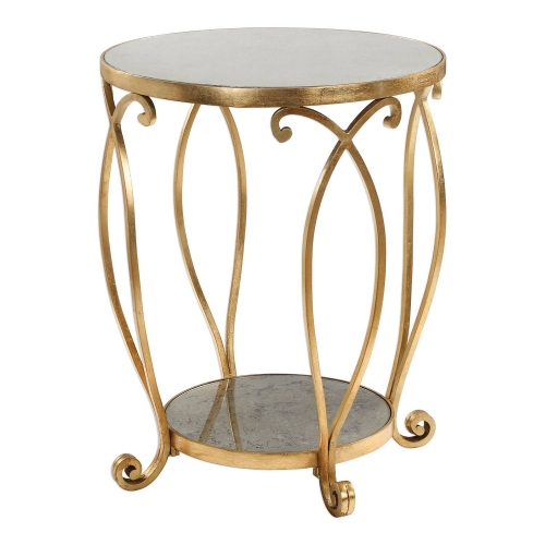 Martella Round Accent Table - Gold