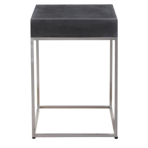 Jase Concrete Accent Table - Black