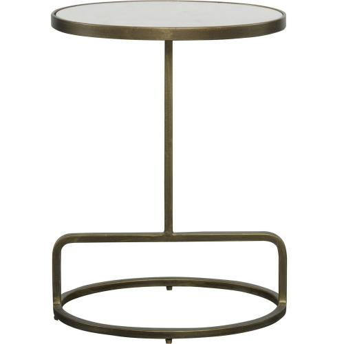 Jessenia Marble Accent Table - White