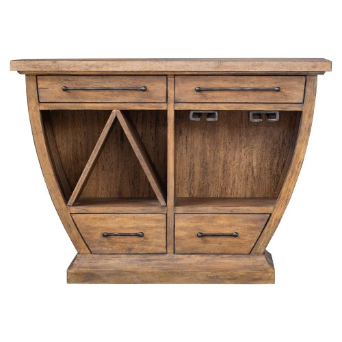 Aleph Wood Bar Cabinet - Rustic