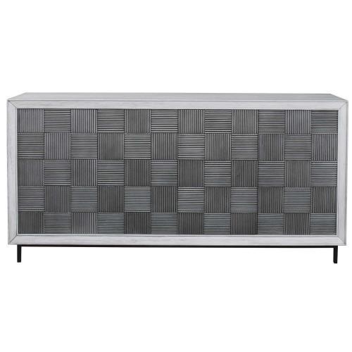 Checkerboard 4 Door Cabinet - Gray