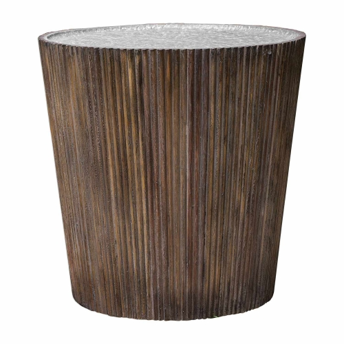 Amra Round Accent Table - Reeded