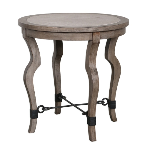 Blanche Travertine Lamp Table