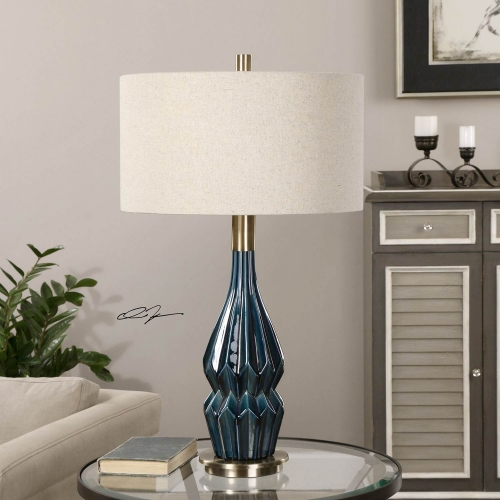 Prussian Blue Ceramic Lamp