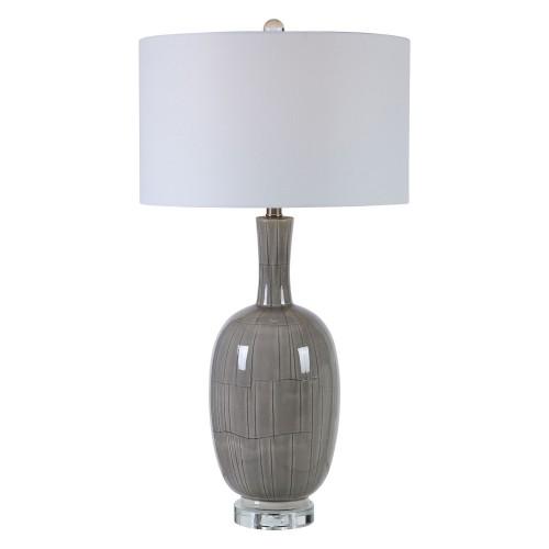 LeAnna Crackle Table Lamp - Gray