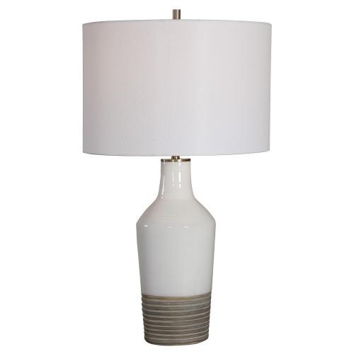 Dakota Crackle Table Lamp - White