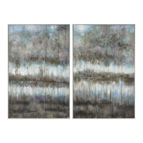 Gray Reflections Landscape Art - Set of 2
