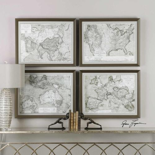World Maps Framed Prints - Set of 4