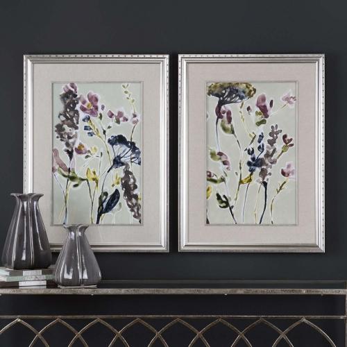 Parchment Flower Field Prints - Set of 2