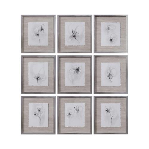 Neutral Floral Gestures Prints Set/9