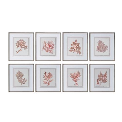 Sunrise Coral Framed Prints Set/8