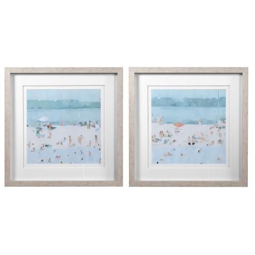 Sea Glass Sandbar Framed Prints - Set of 2