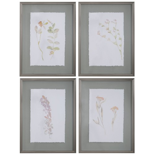 Flourish Framed Botanical Prints - Set of 4