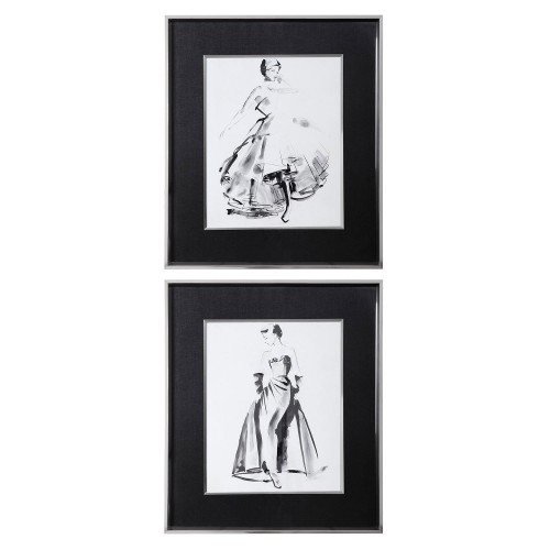 Vintage Costume Sketch Framed Prints - Set of 2
