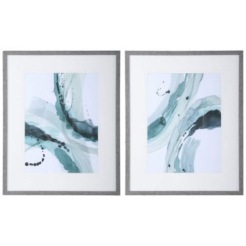 Depth Abstract Watercolor Prints - Set of 2