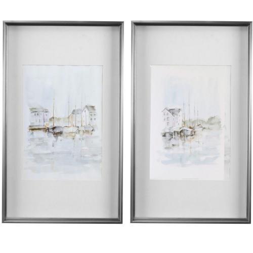 New England Port Framed Prints - Set of 2