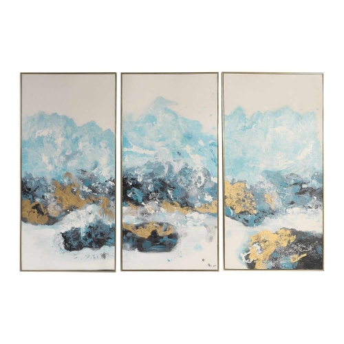 Crashing Waves Abstract Art - Set of 3