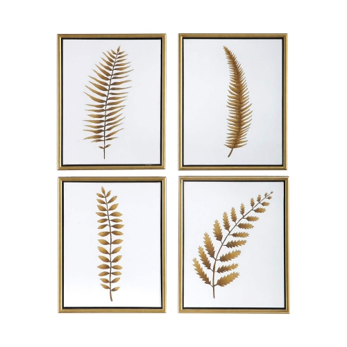 Forest Ferns Hand Painted Art - Set of 4