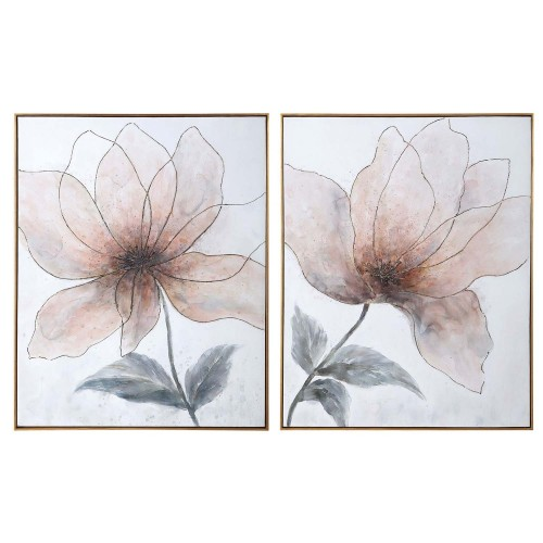 Vanishing Blooms Hand Painted Canvases - Set of 2