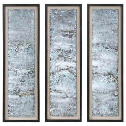 Ocean Swell Painted Metal Art - Set of 3