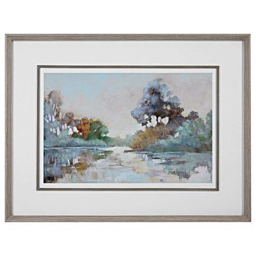 Morning Lake Watercolor Framed Print