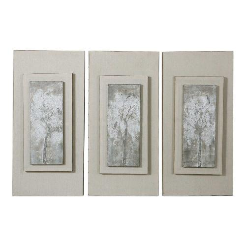 Triptych Trees Hand Painted Art - Set of 3