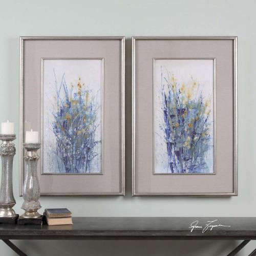 Indigo Florals Framed Art - Set of 2