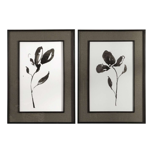 Solitary Sumi-e Floral Prints - Set of 2