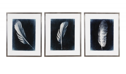 Inverted Feathers Prints - Set of 3