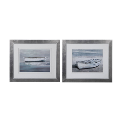 Anchored By The Beach Framed Prints - Set of 2