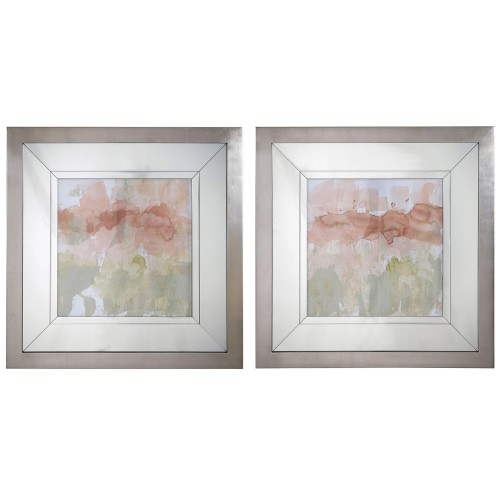 Dusty Blush and Olive Framed Prints - Set of 2
