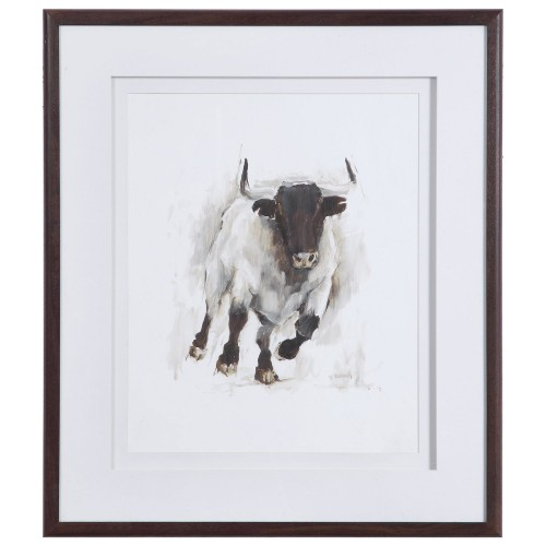Rustic Bull Framed Animal Print