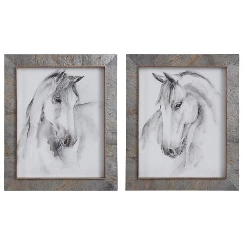 Equestrian Watercolor Framed Prints - Set of 2