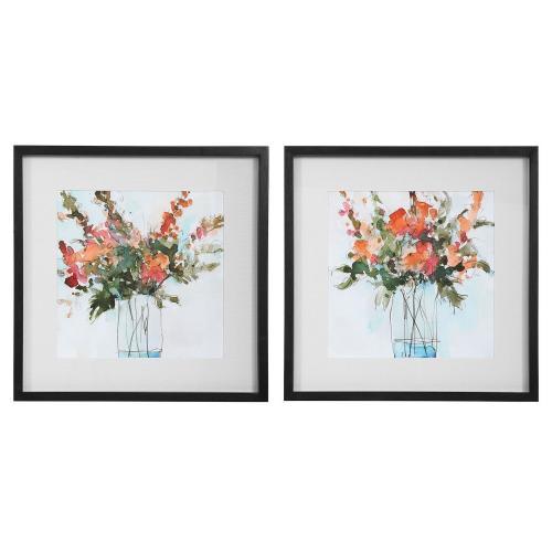 Fresh Flowers Watercolor Prints - Set of 2