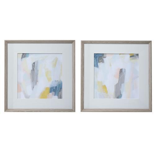Fractal Pastel Abstract Art - Set of 2