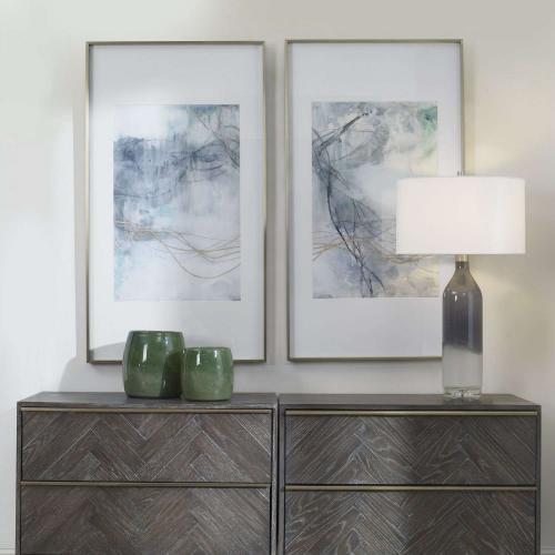 Undulating Oro Abstract Prints - Set of 2