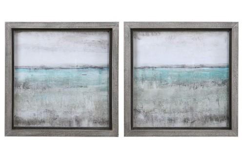 Aqua Horizon Framed Prints - Set of 2