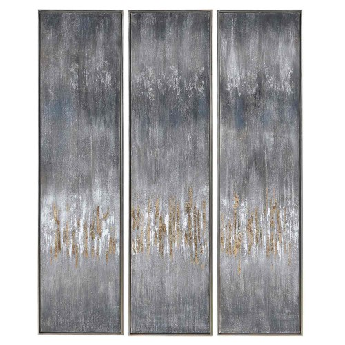 Gray Showers Hand Painted Canvases - Set of 3