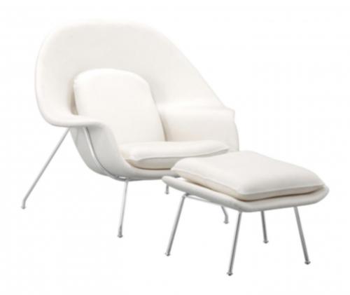 Nursery Occasional Chair & Ottoman - White