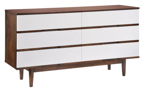 LA Double Dresser - Walnut/White