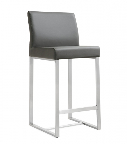 TOV Furniture Denmark Grey Stainless Steel Counter Stool (Set of 2)