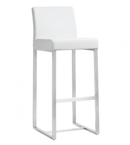 TOV Furniture Denmark White Stainless Steel Barstool (Set of 2)