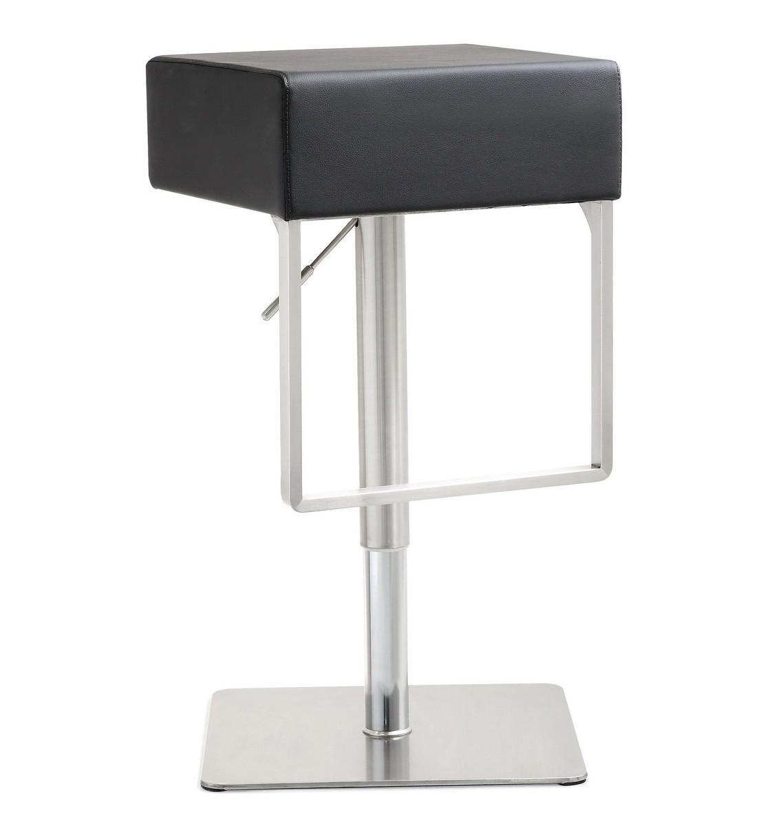 TOV Furniture Seville Black Stainless Steel Barstool