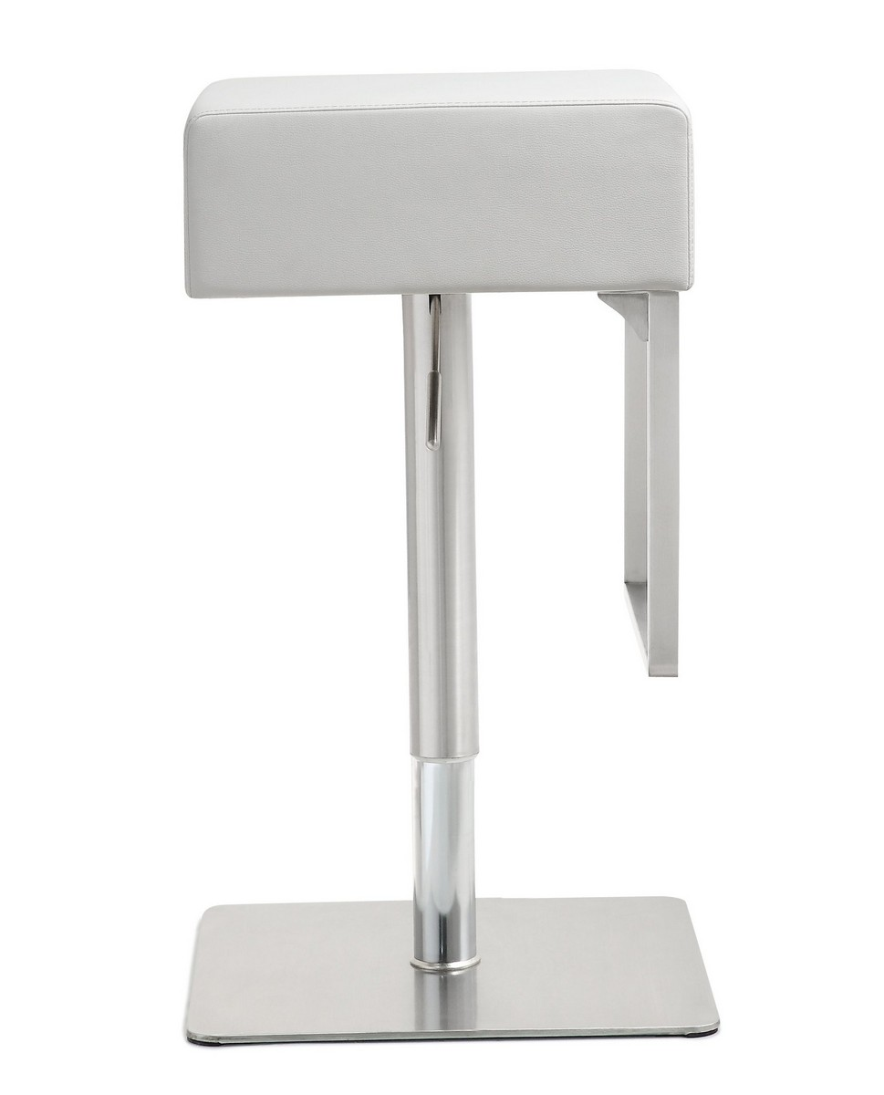 TOV Furniture Seville White Stainless Steel Barstool
