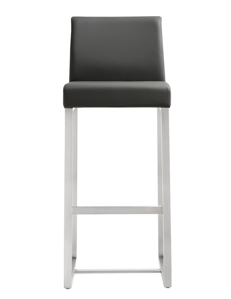 TOV Furniture Denmark Grey Stainless Steel Barstool (Set of 2)