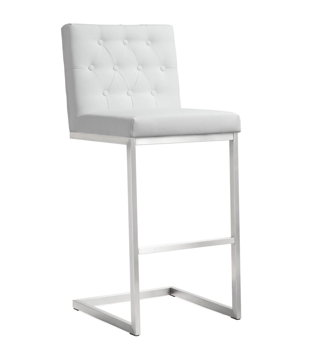 TOV Furniture Helsinki White Stainless Steel Barstool (Set of 2)