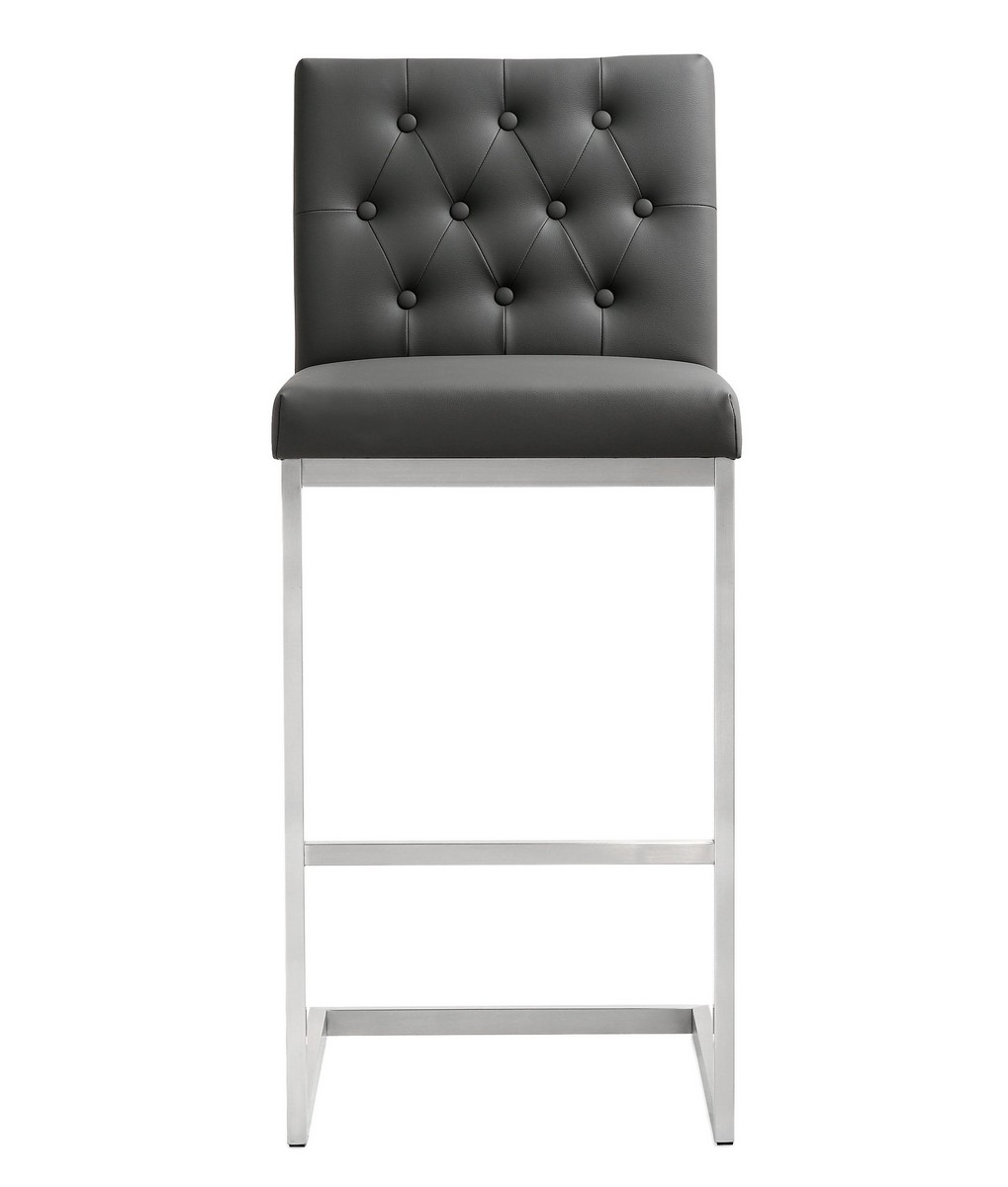 TOV Furniture Helsinki Grey Stainless Steel Barstool (Set of 2)